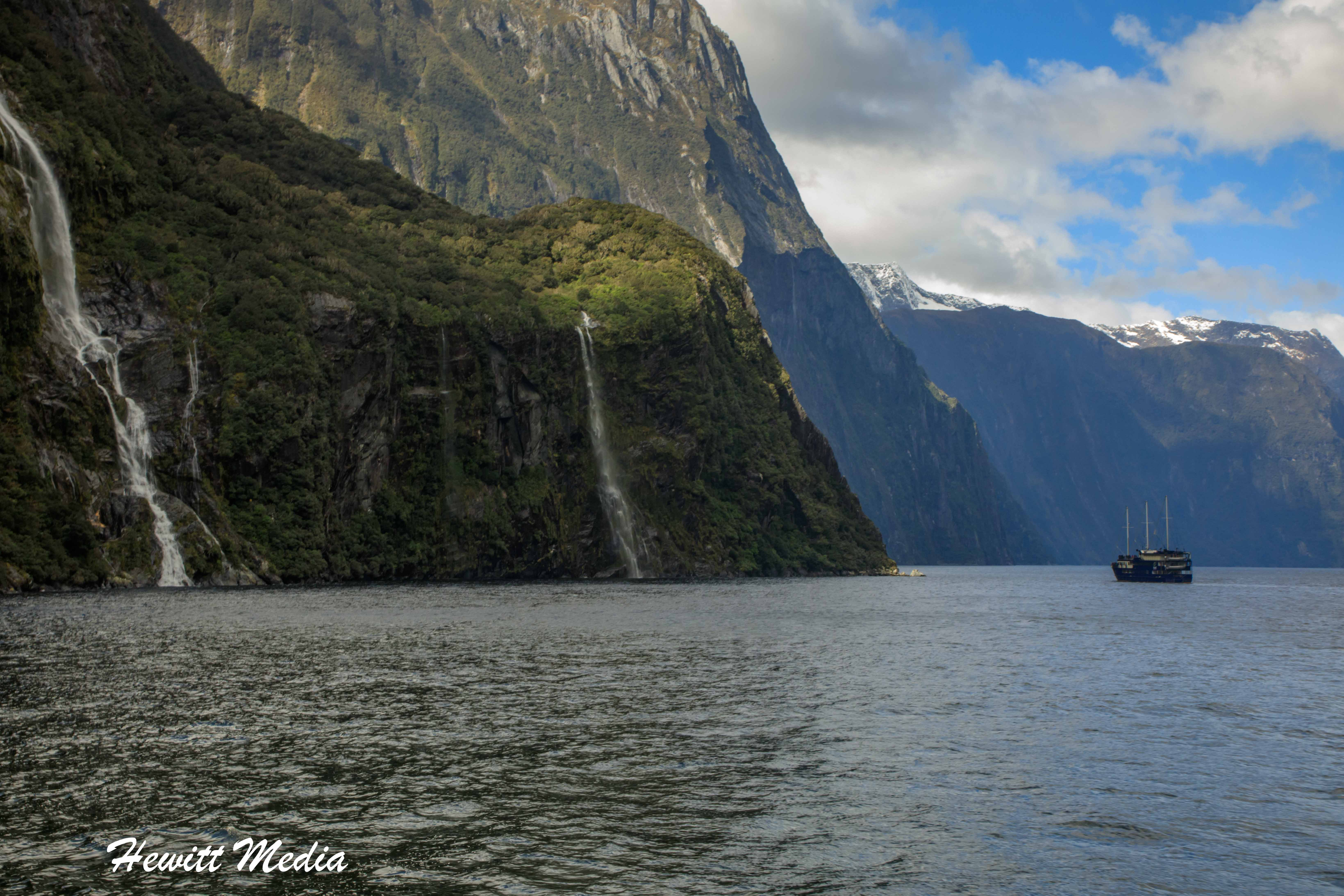 Waterfalls in Milford Sound