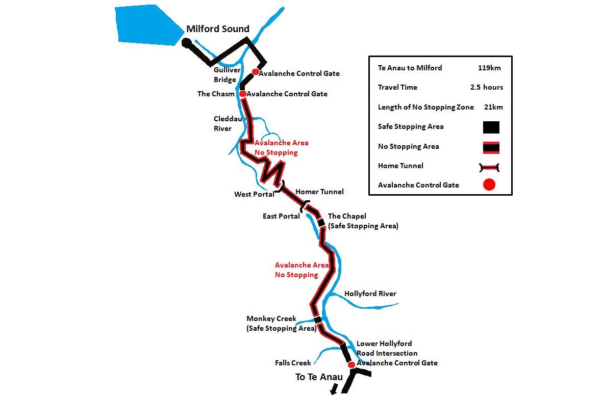 Milford Sound Avalanche Zone Map