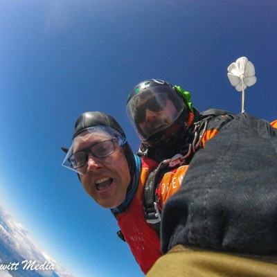In free fall skydiving outside Wanaka, New Zealand