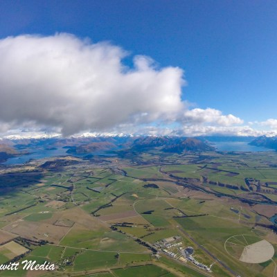 View of the Wanaka area from the the air as we parachuted down