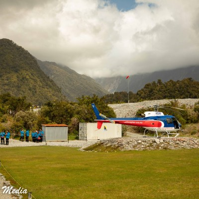 Getting ready to board a helicopter tour of Franz Josef Glacier