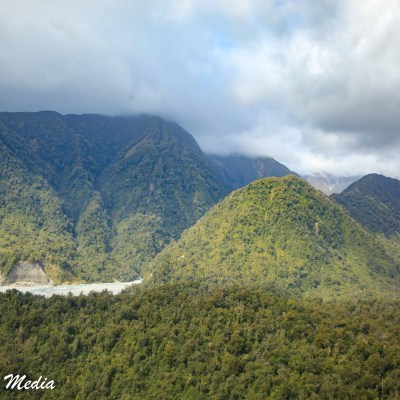 View of the Franz Josef Glacier valley from the helicopter