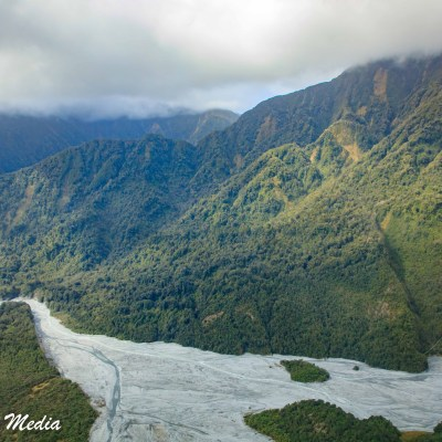 Franz Josef Glacier valley from the helicopter tour