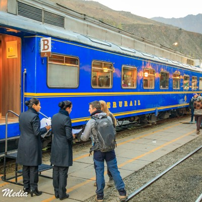 Boarding the Train to Machu Picchu at Ollantaytambo
