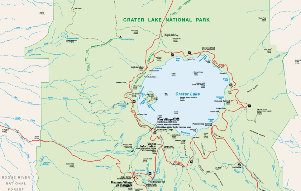 Crater Lake National Park Map - Preview