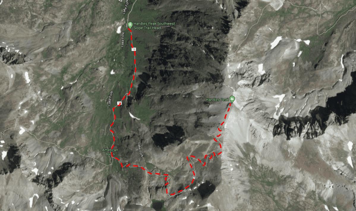 Handies Peak Trail Map