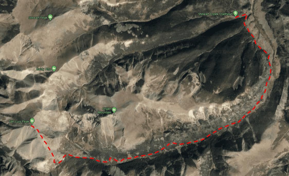 San Luis Peak Trail Map