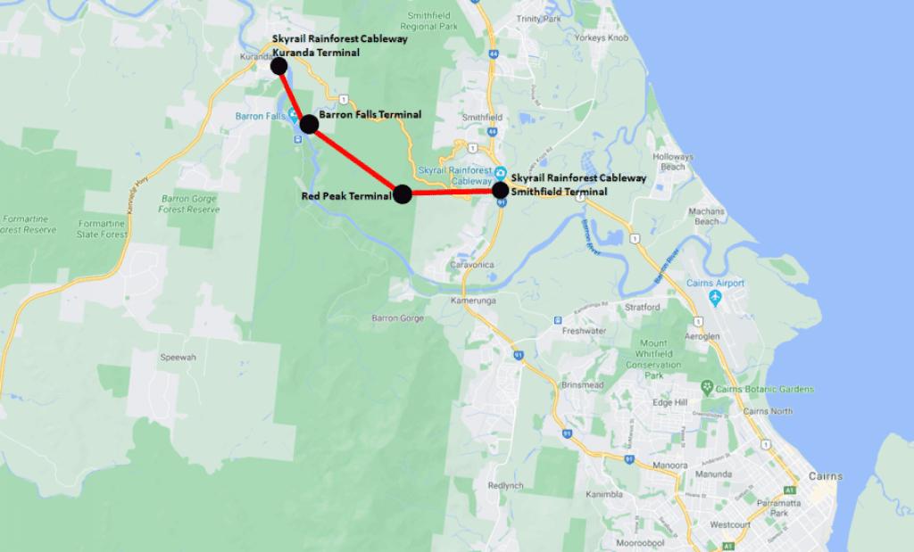 Australia Kuranda Skyrail Rainforest Cableway Map