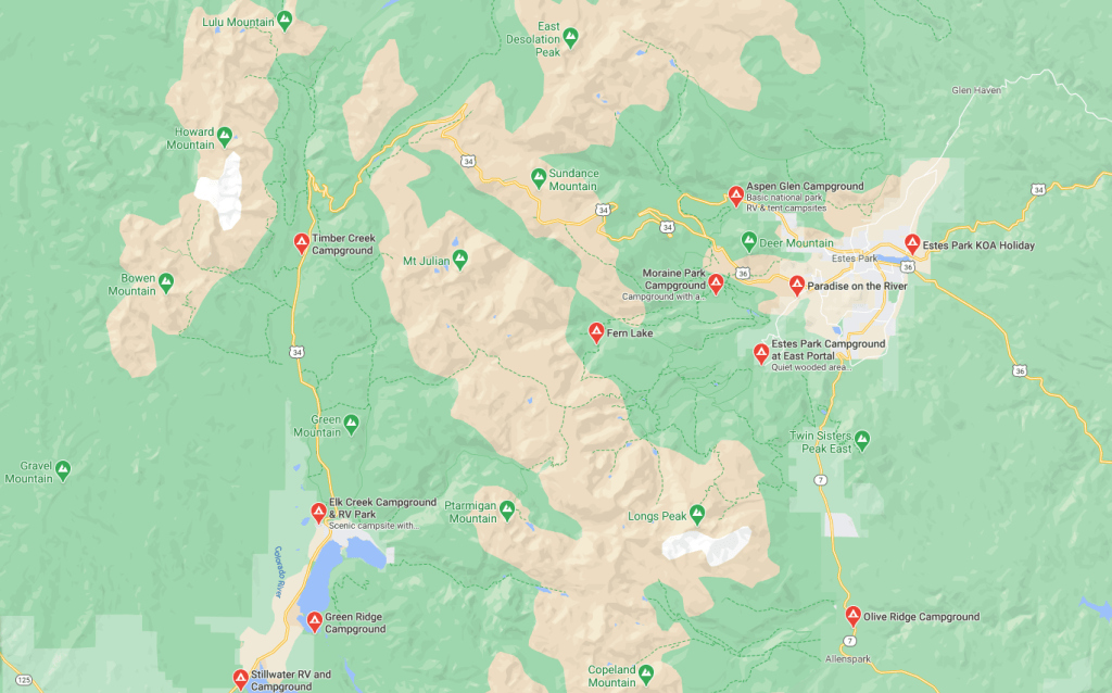 Rocky Mountain National Park Campgrounds Map
