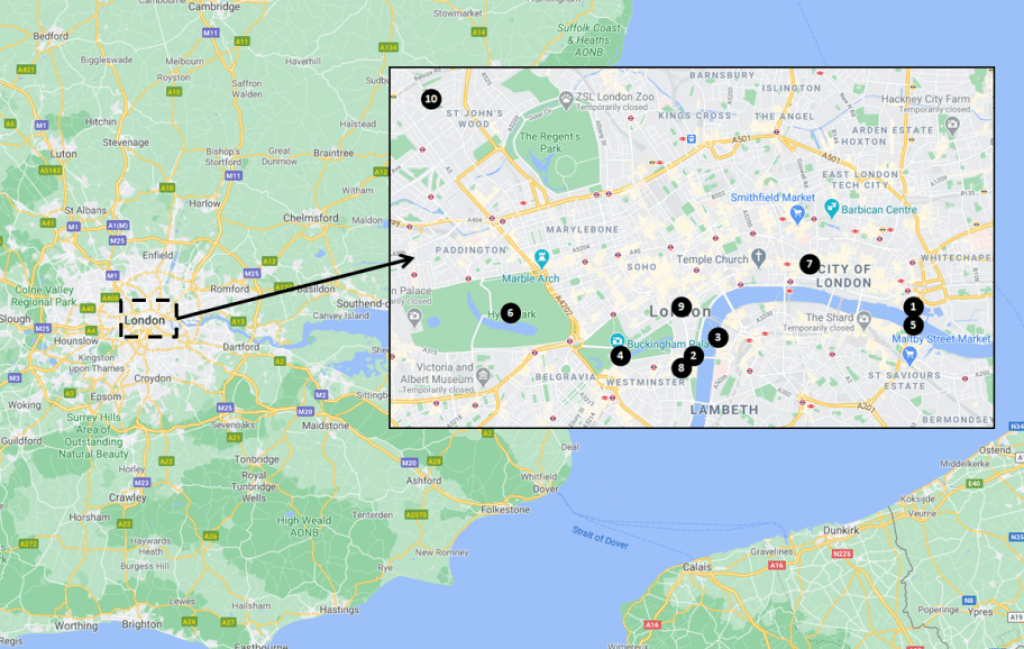 London travel guide - Top Attractions Map