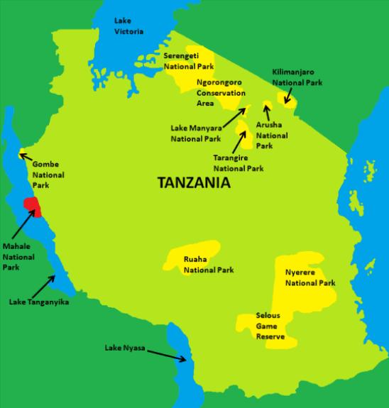 Mahale Mountains National Park Map
