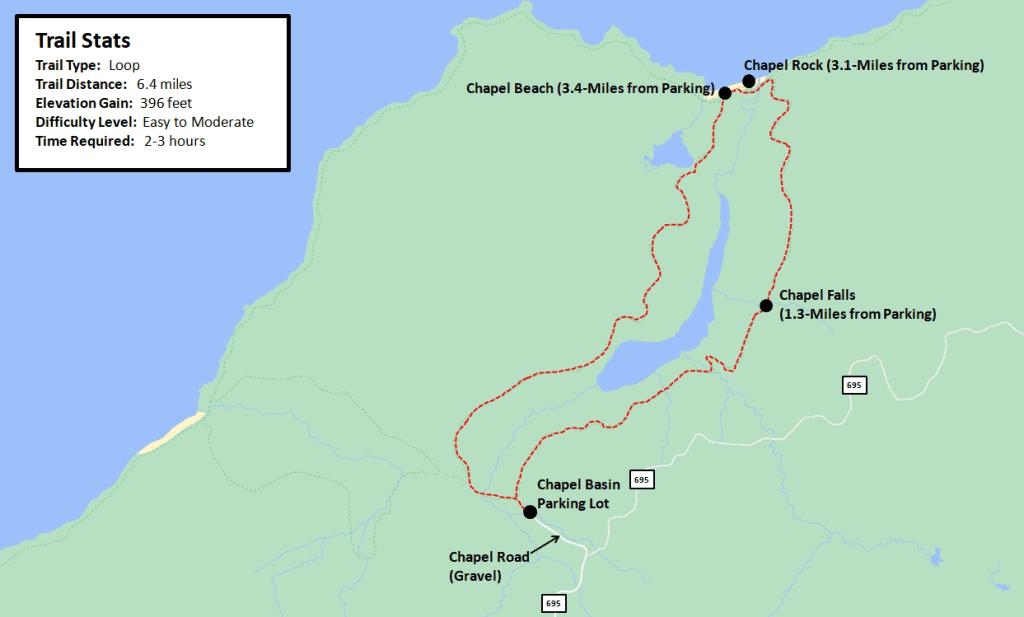 Chapel Falls and Chapel Rock Loop Hike  Map