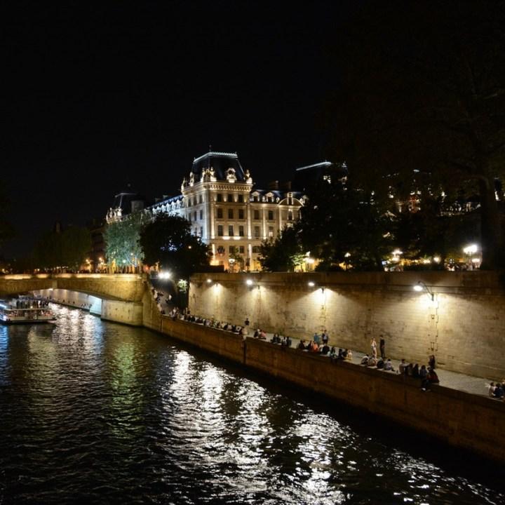 Paris France seine by night