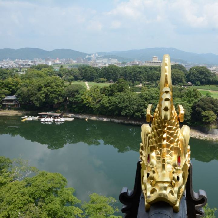 Okayama castle golden fish roof tile
