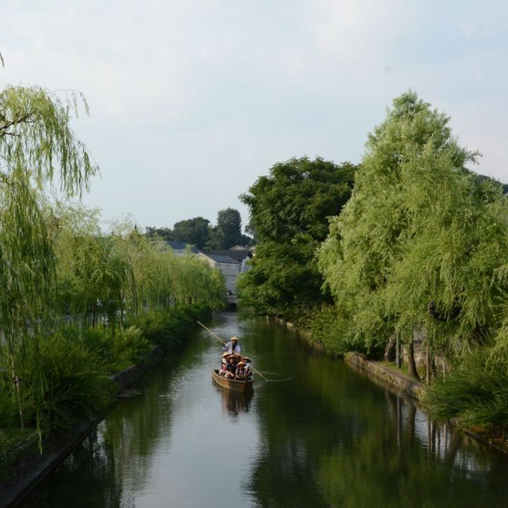 kurashiki bikan quarter canal willow trees