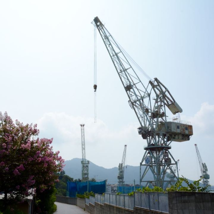 Innoshima Shimanami Kaido ship building dock crane