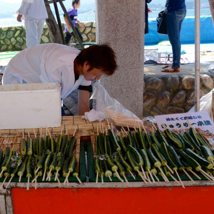 miyajima hanabi firework foodstall cucumber sticks