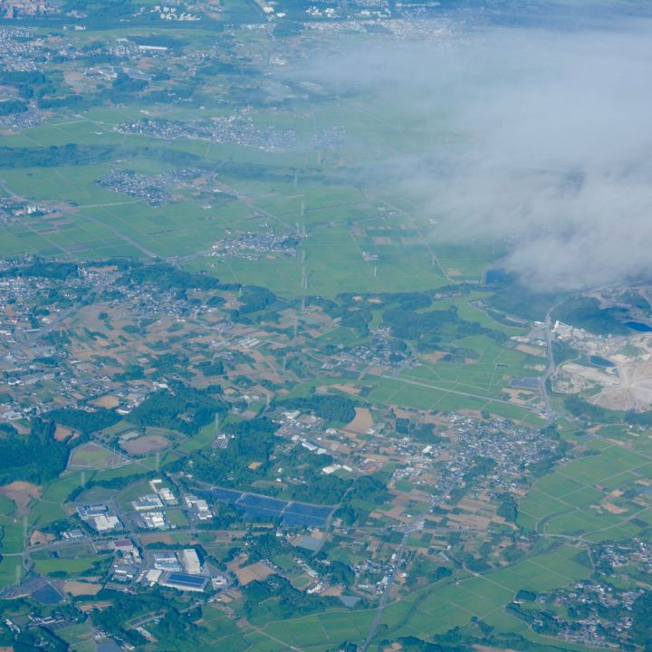 Japanese countryside seen from the plane