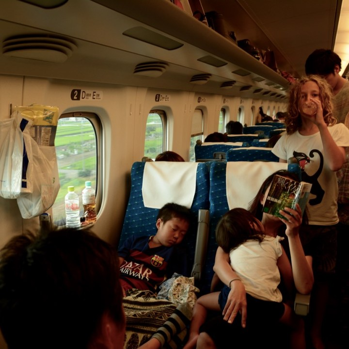 shinkansen train ride standing unreserved car