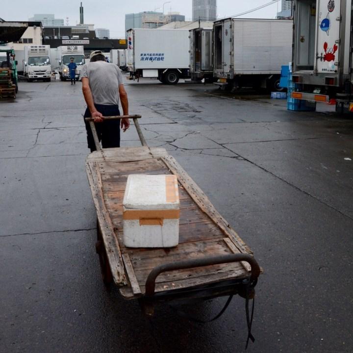 tsukiji tokyo fish market wheel cart