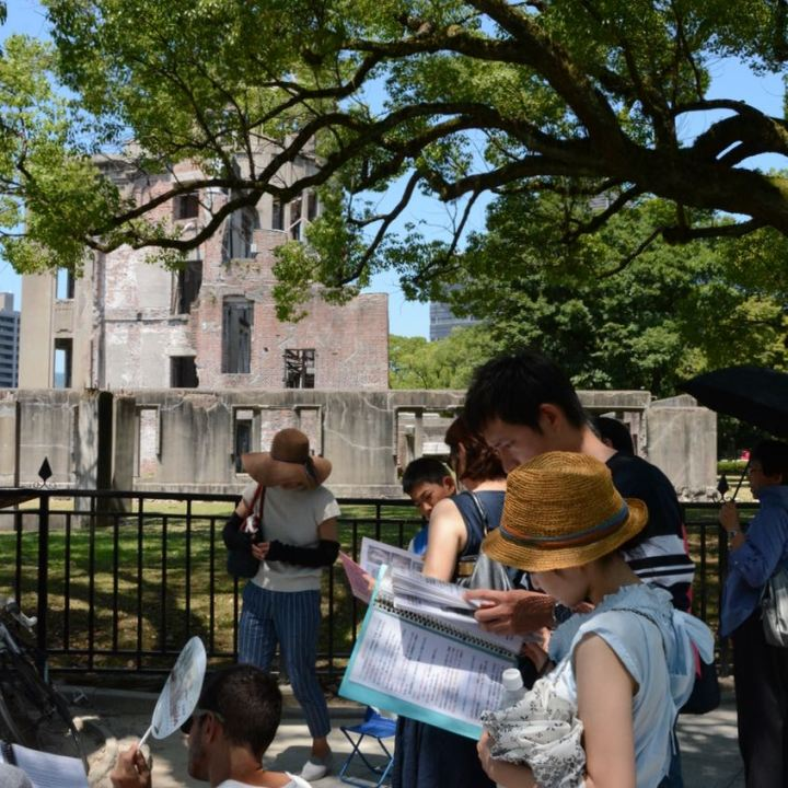 Hiroshima A bomb dome tourists