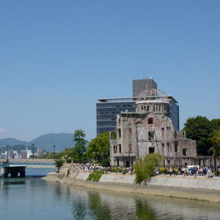 Hiroshima A bomb dome ruin from afar