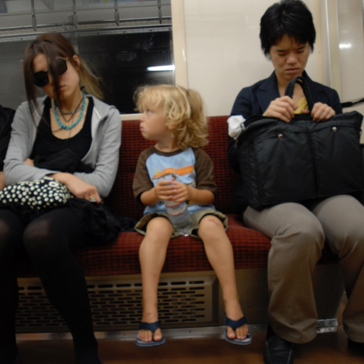 travelling japan with children metro ride