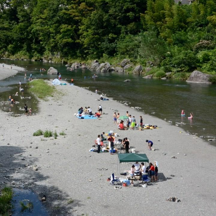 tama river cycling picnic barbeque swimming