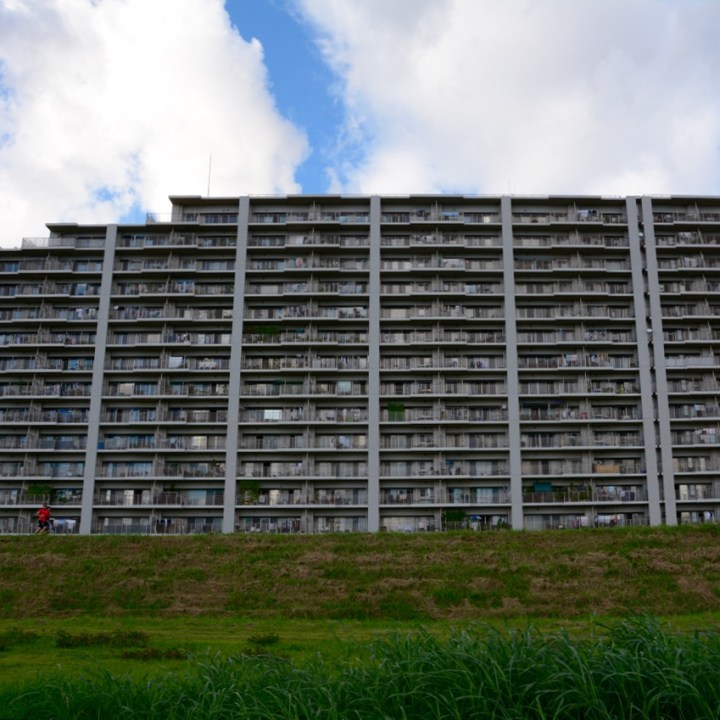 tama river cycling apartment blocks architecture