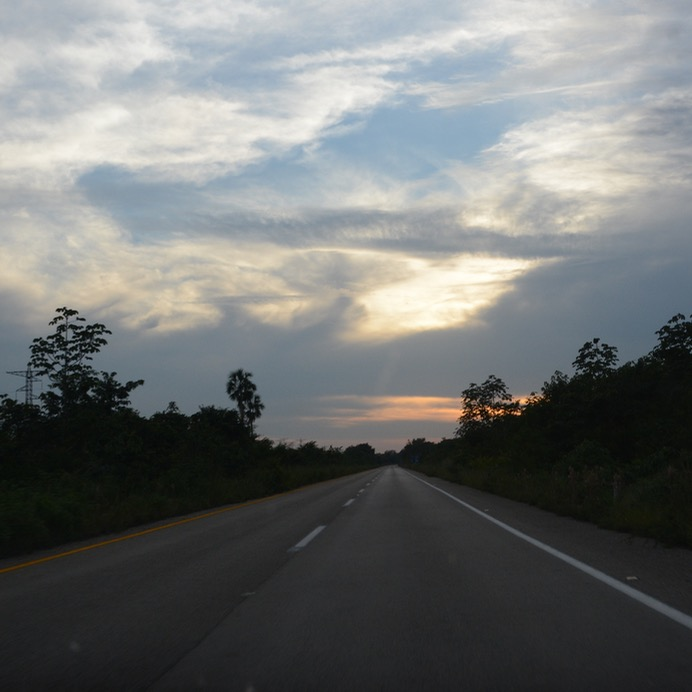 Cancun Mexico highway sunset valladolid