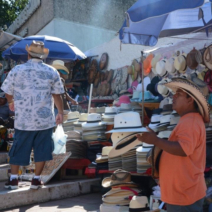 travel with children kids mexico chichen itza merchants
