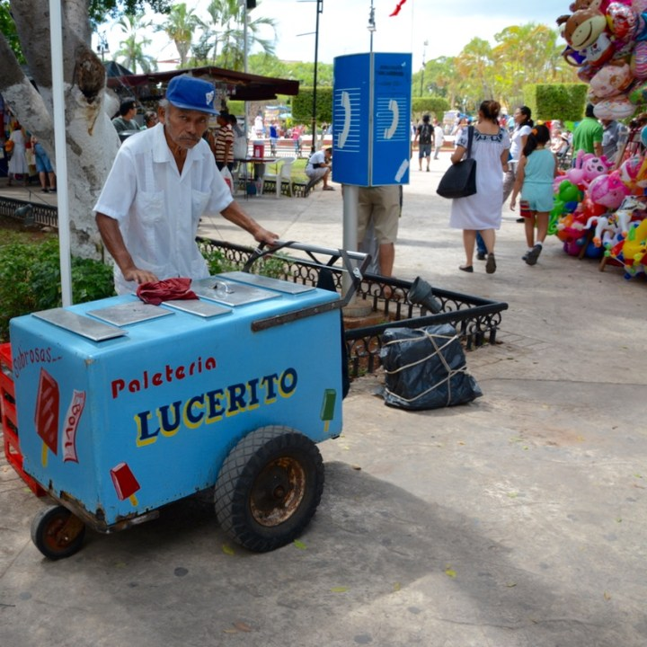 Travel with children kids mexico merida sunday market plaza grande icecream vendor
