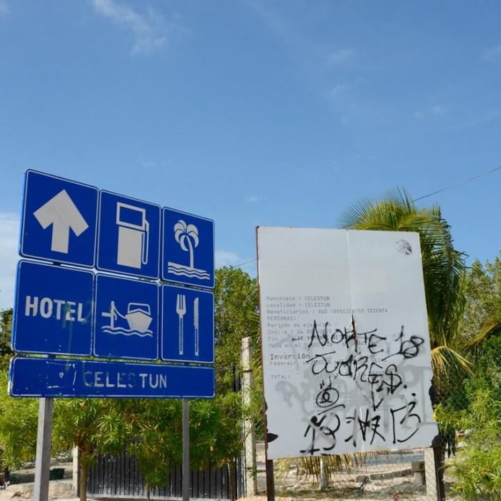 Travel with children kids mexico celestun sign