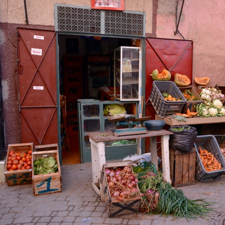 Travel with children kids Marrakesh morocco medina fruit vegetables