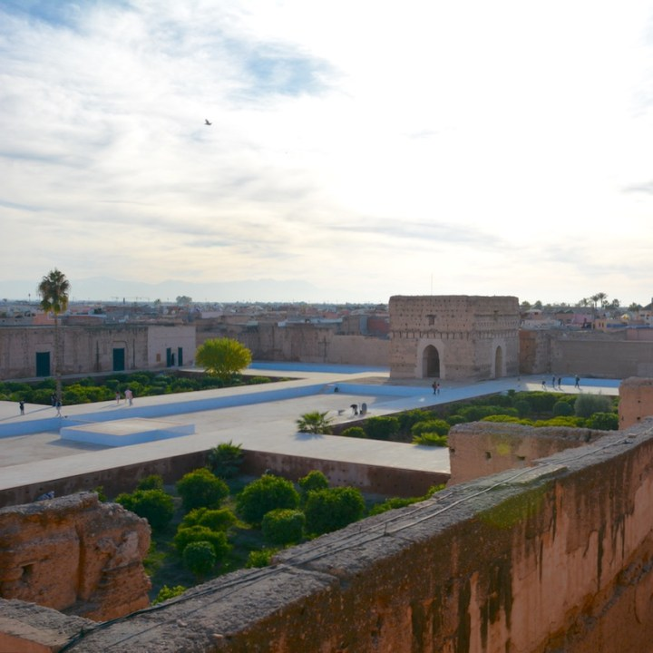 Travel with children kids Marrakesh morocco medina badia palace view