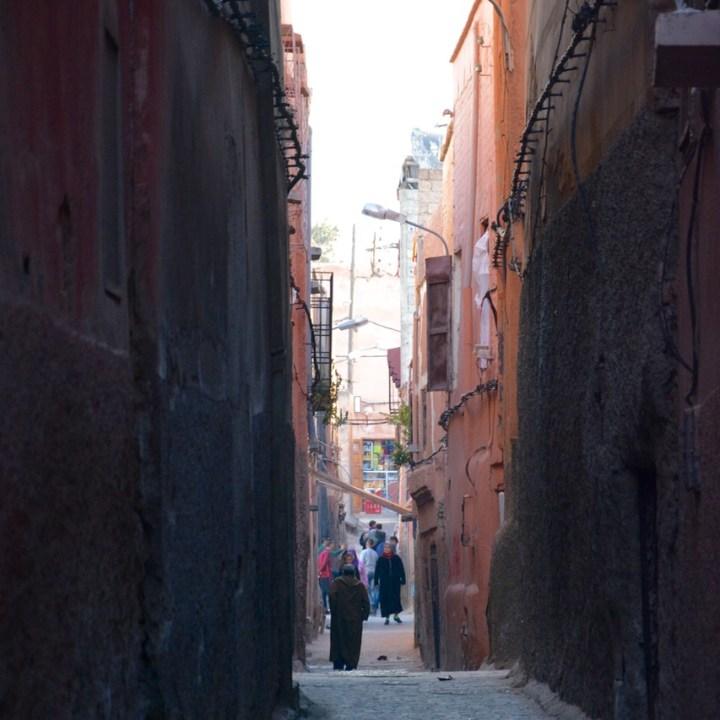 Travel with children kids Marrakesh morocco medina side street