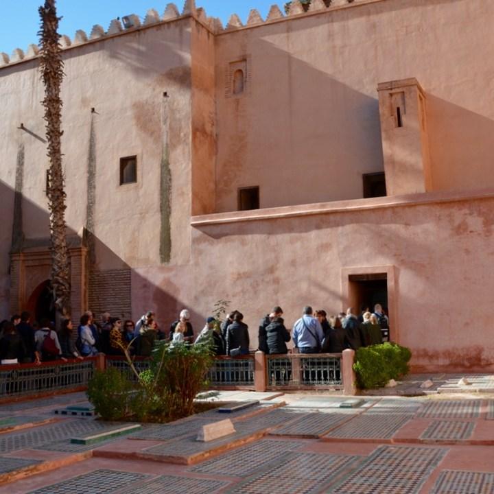 travel with children kids morocco marrakech saadian tombs queue