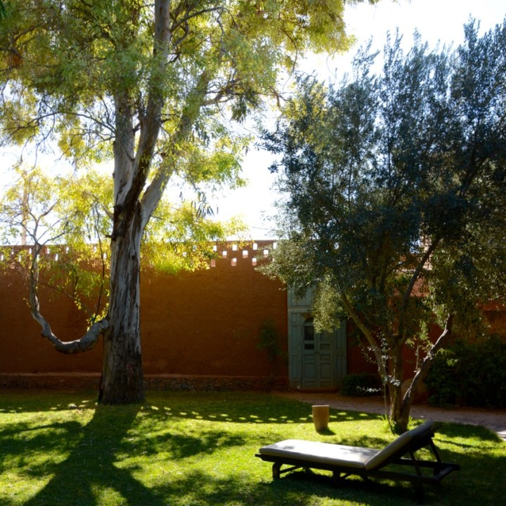 travel with kids children morocco marrakech hotel caravanserai garden trees