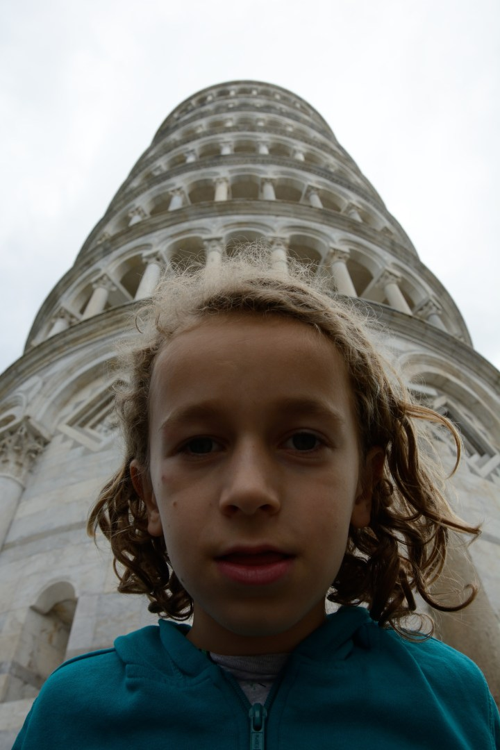 travel with kids children pisa italy leaning tower portrait
