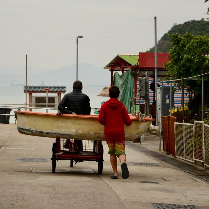 travel with kids children peng chau hong kong boat bike