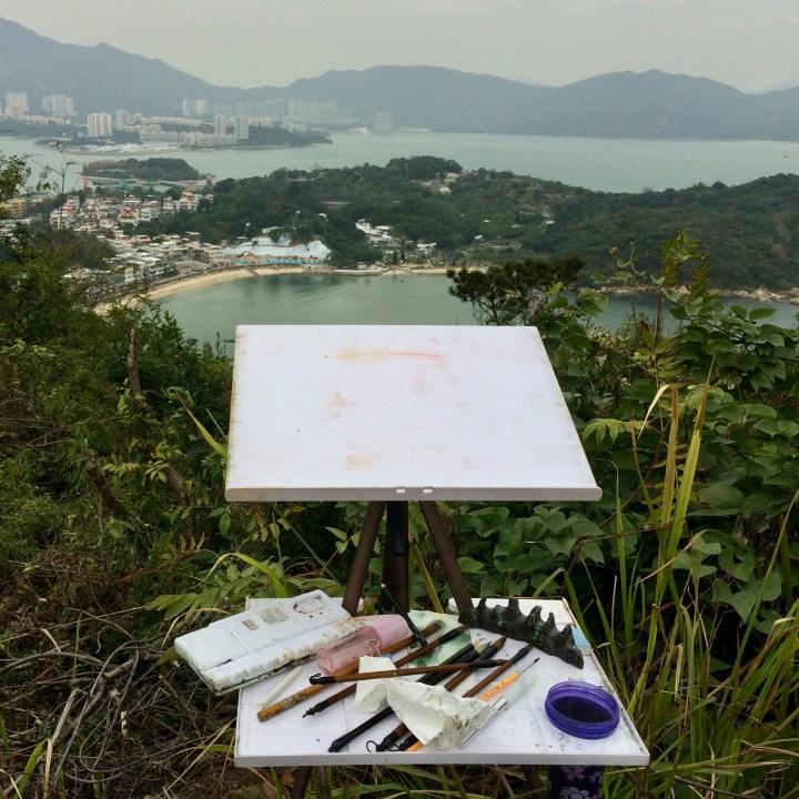 travel with kids children peng chau hong kong hiking trail finger hill view painter