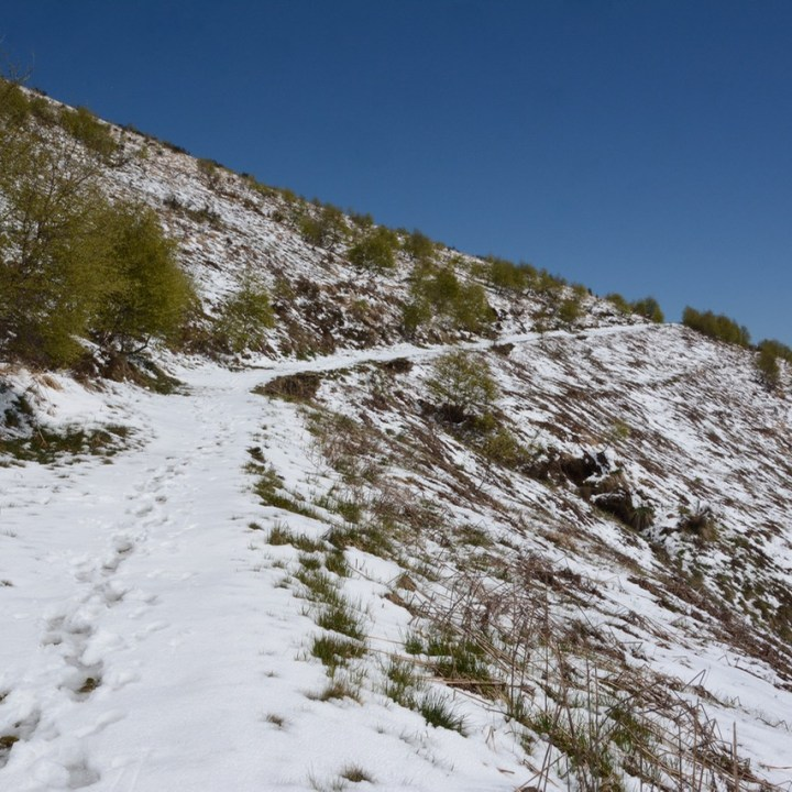 travel with kids children mount spalavera lago maggiore hiking snow path