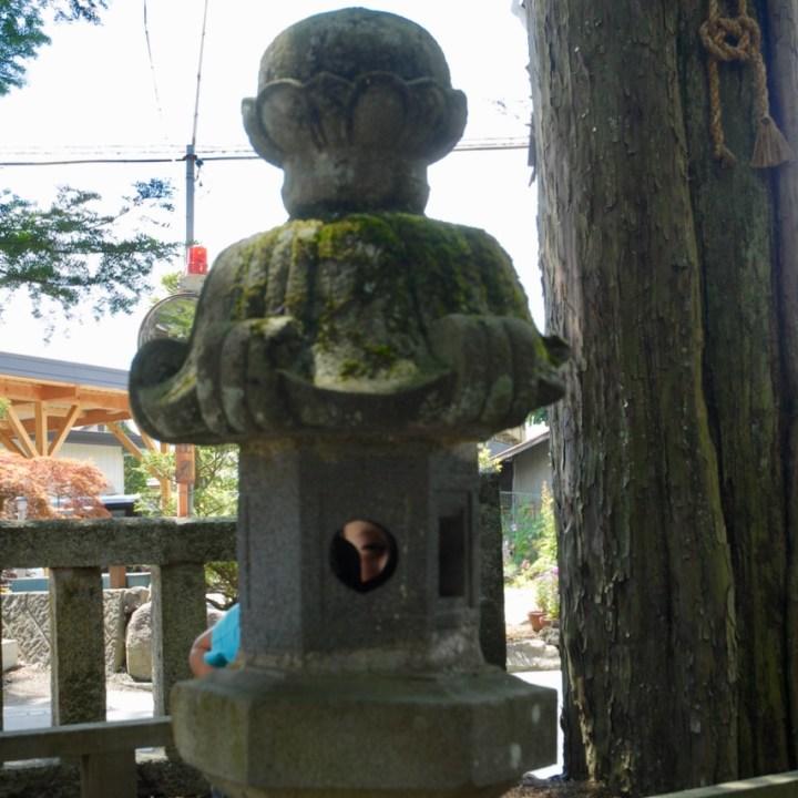 cycling with kids lake yamanakako temple stone lantern
