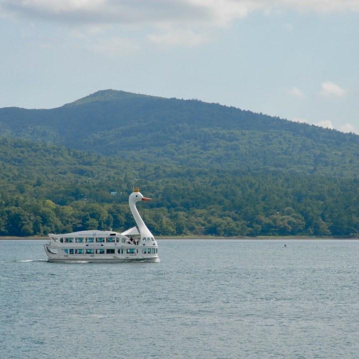 cycling with kids lake yamanakako swan boat cruise
