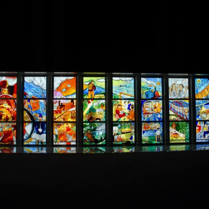 tokyo train museum with kids shinkansen stained glass window