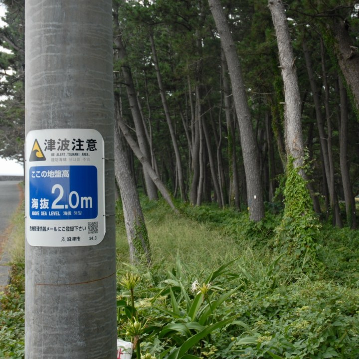heda japan with kids izu peninsular tsunami sign