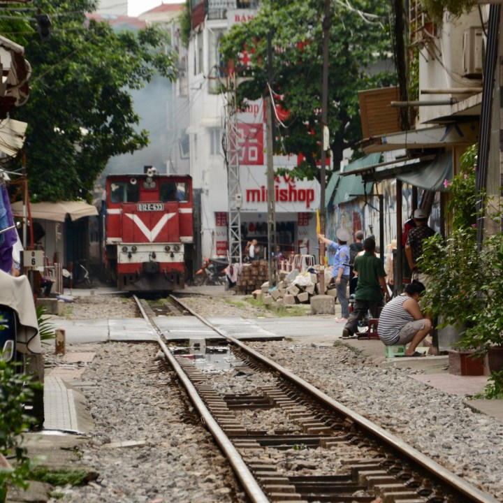 travel with kids vietnam hanoi train comes