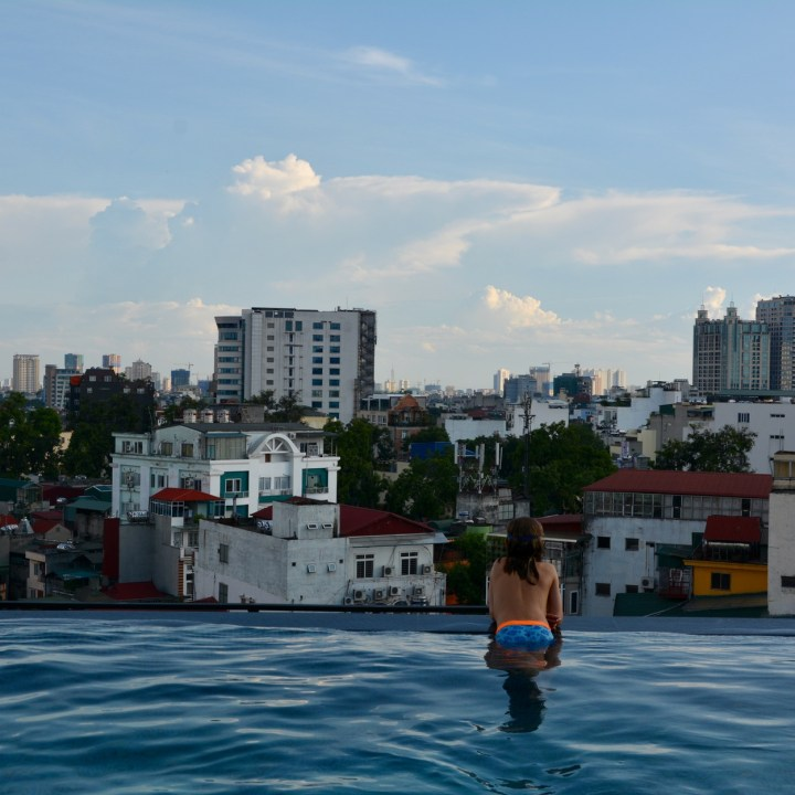 travel with kids vietnam hanoi rooftop pool