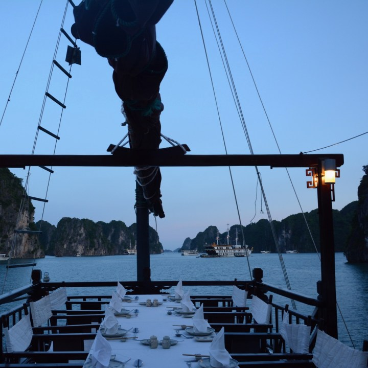 vietnam with kids ha long bay dinner time