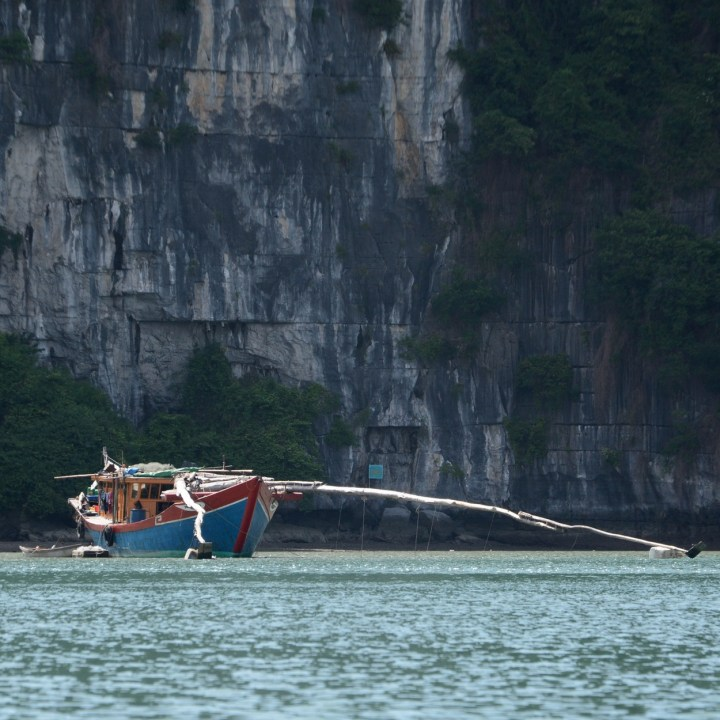 vietnam with kids ha long bay fishing boat